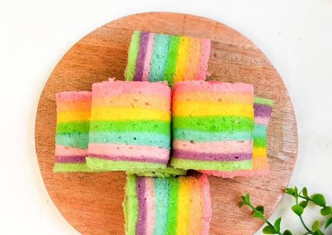 Cara Gampang Membuat Mini Rainbow roll Cake 🌈 Anti Gagal