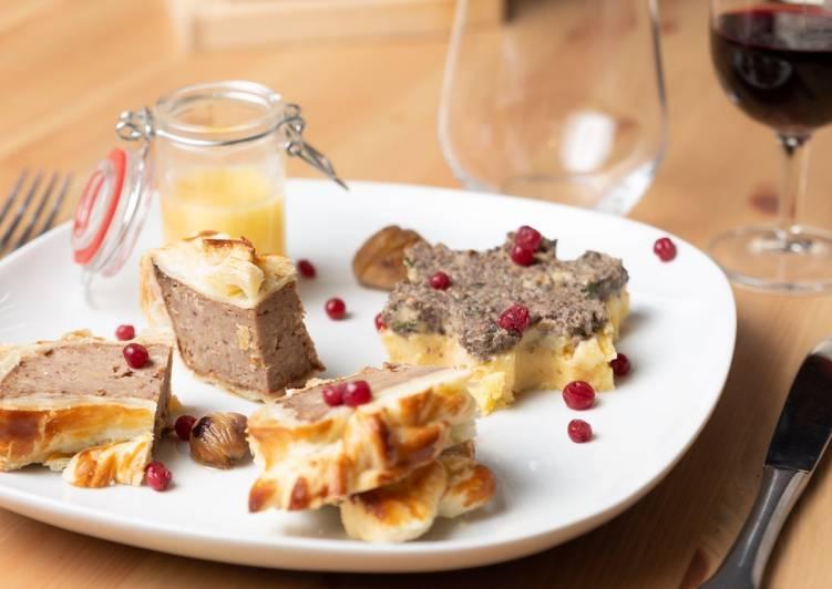 Rôti de châtaignes en croûte et son flocon de polenta et mousse de champignons (sauce au champagne)