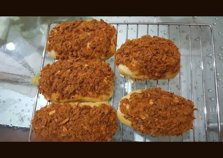 Roti abon sapi (overnight poolish method)