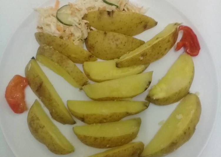 Recipe of Speedy Boiled jacket potato wedges. #potatoescontest#