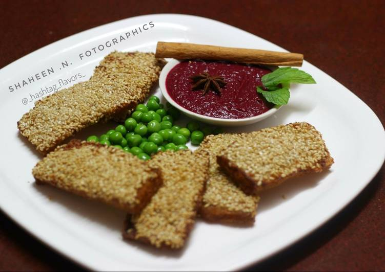 Easiest Way to Make Perfect Sesame Chicken Toast with Beetroot-star anise dip