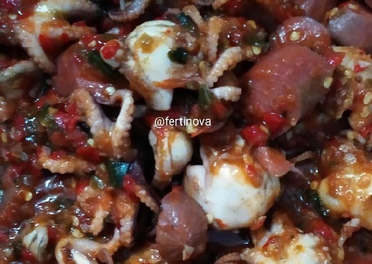 Sambal Baby gurita + sosis ayam