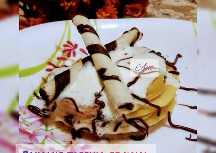 Pancake topping es krim coklat wafer