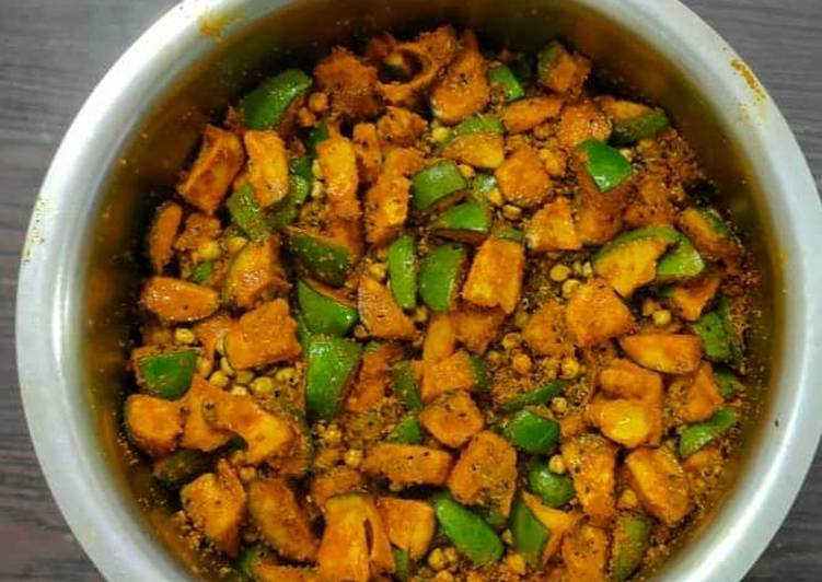 Simple Way to Make Perfect #Raw Mango & Cheakpea Pickle#