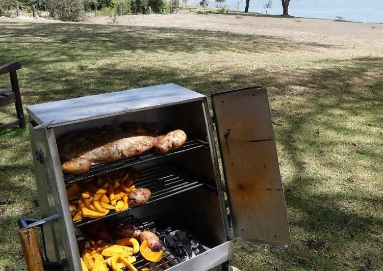 Safari oven baked vegetables and a garlic ginger pork shoulder