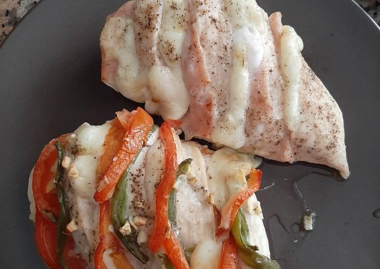 Pollo al horno con queso mozzarella