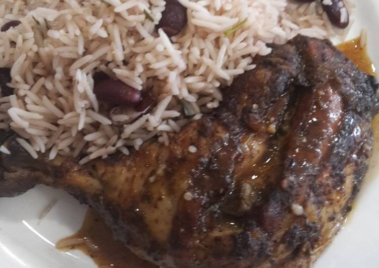 Easiest Way to Prepare Delicious Jerk chickens with pea rice