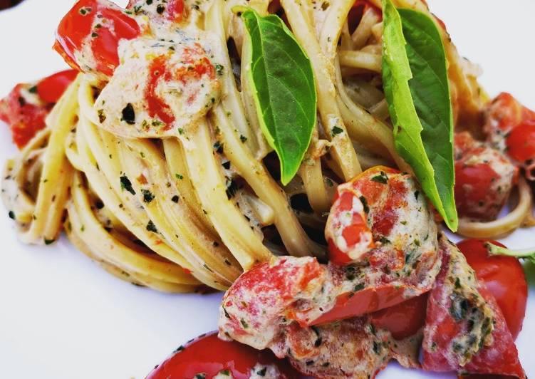 Ricetta Spaghetti con crema di basilico e pomodori