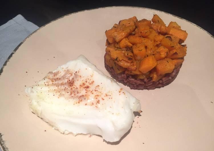 recette Dos cabillaud riz complet & patates douces le délicieux