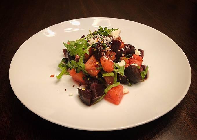 Beet Watermelon Arugula Salad with Lemon Mints Flavors