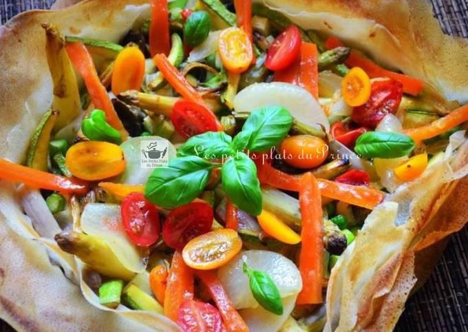 Tarte méli mélo aux légumes du printemps en feuilles de brick