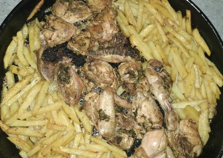 Oven Baked Chicken and fries