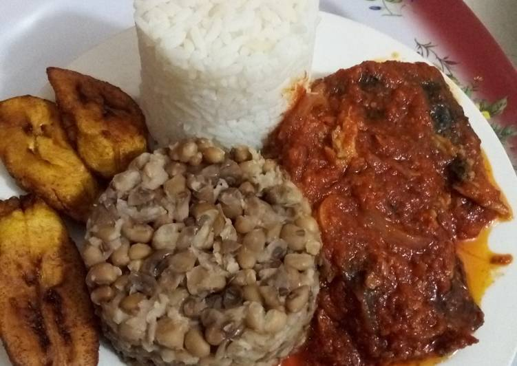 White Rice, Beans, Plantain and Cat Fish Stew
