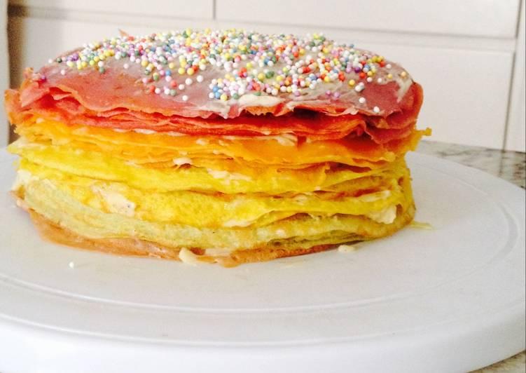 Rainbow Pancake Cake <3