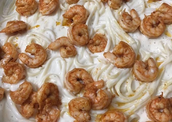 How To Cook Creamy shrimp alfredo pasta Very Simple