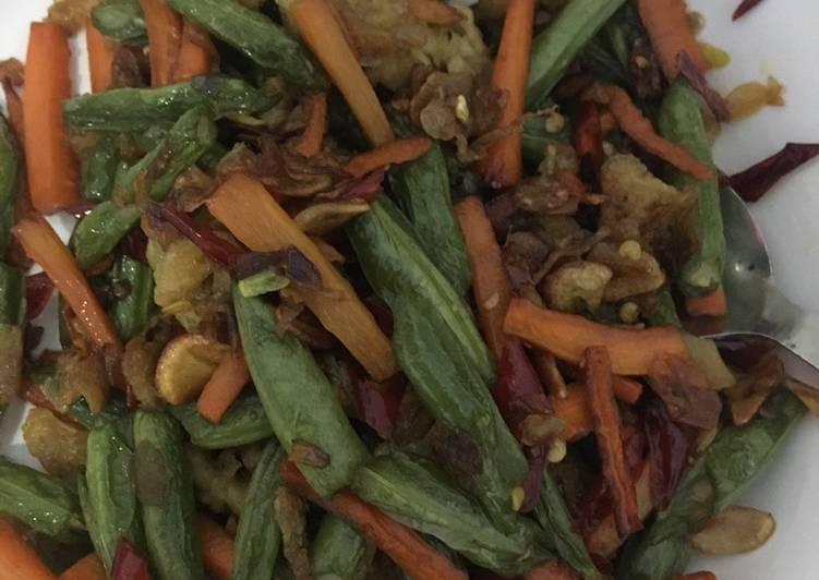 Tumis buncis tauge wortel dan telur orak airk