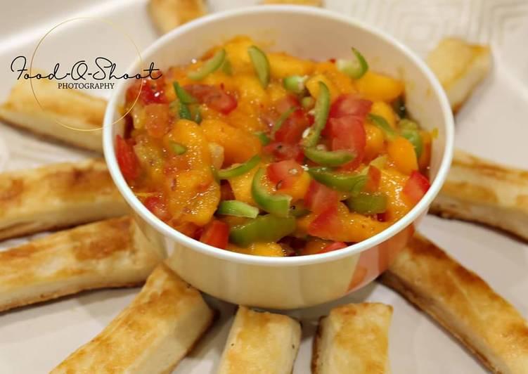 Step-by-Step Guide to Make Speedy Mango salsa wd puff pastry sticks. #mangotango
