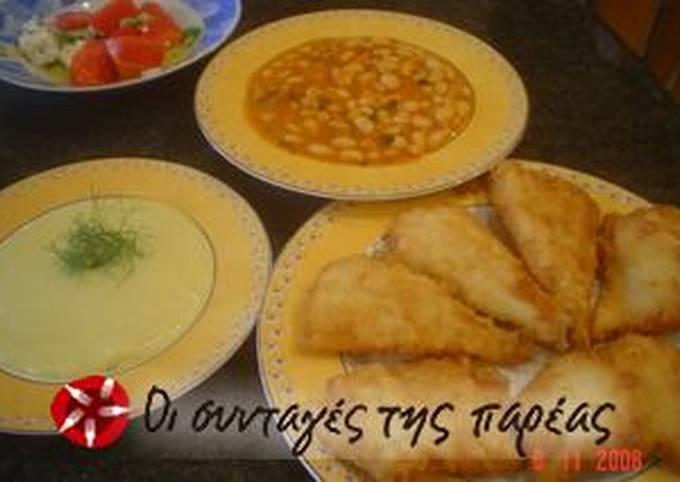 Fried galeos with skordalia