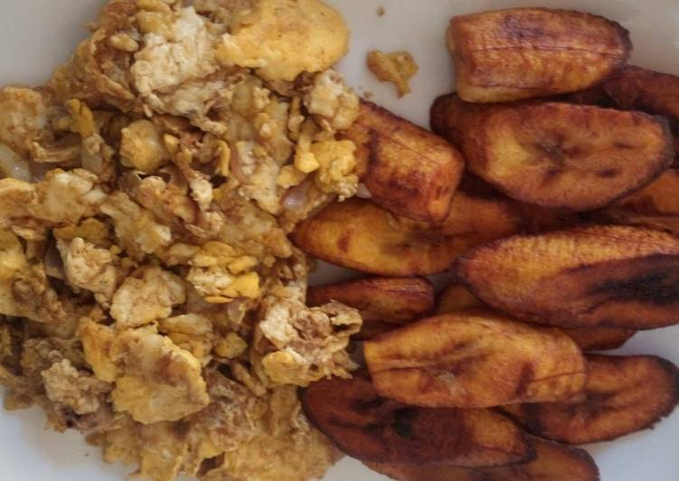 Steps to Prepare Homemade Plantain with scrambled eggs