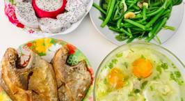 Hình ảnh món Cơm trưa 3 món  Cá chim chiên Đọt bí xào tỏi Canh bắp cải cuộn thịt