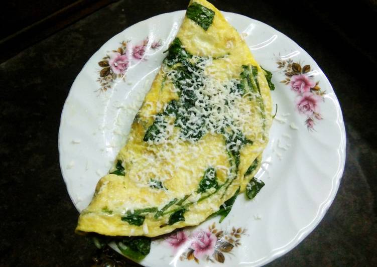 Steps to Make Perfect Cheesy spinach omelette
