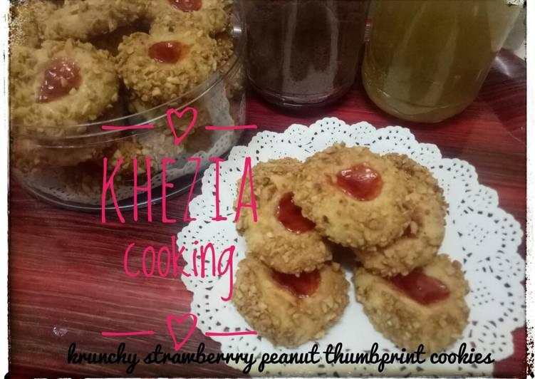 62,crunchy strawberry peanut thumbprint cookies