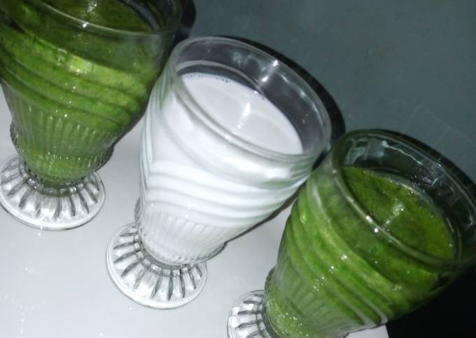 Green healthy smoothy and coconut banana smoothy