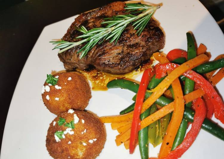 Easiest Way to Prepare Perfect Rosemary Beef Picanah, Mash potato balls with Veggie stir fry