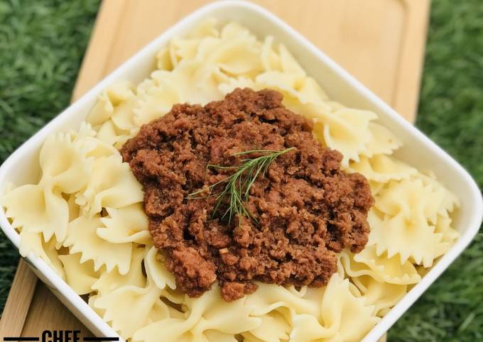 Jamaican style Corned beef x farfalle pasta