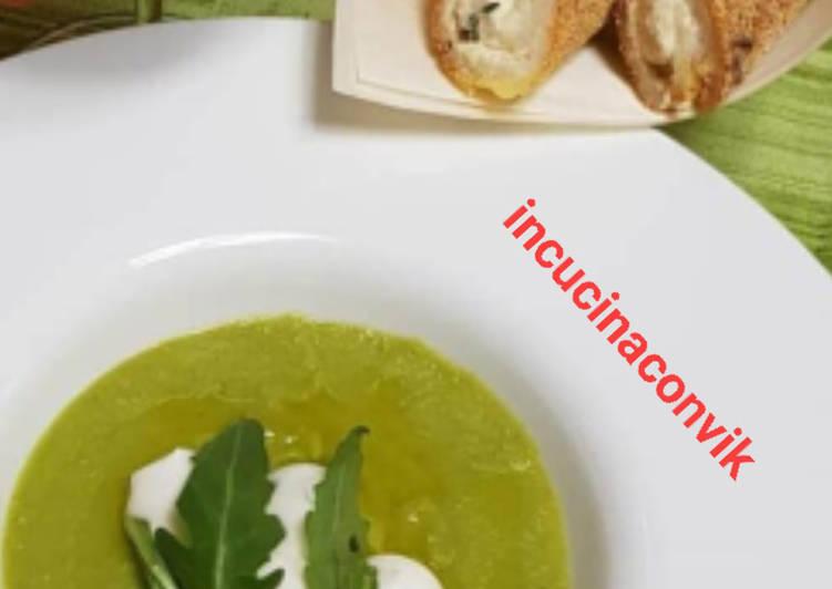 Recipe: Yummy Vellutata di piselli, crostini di polenta al formaggio di capra