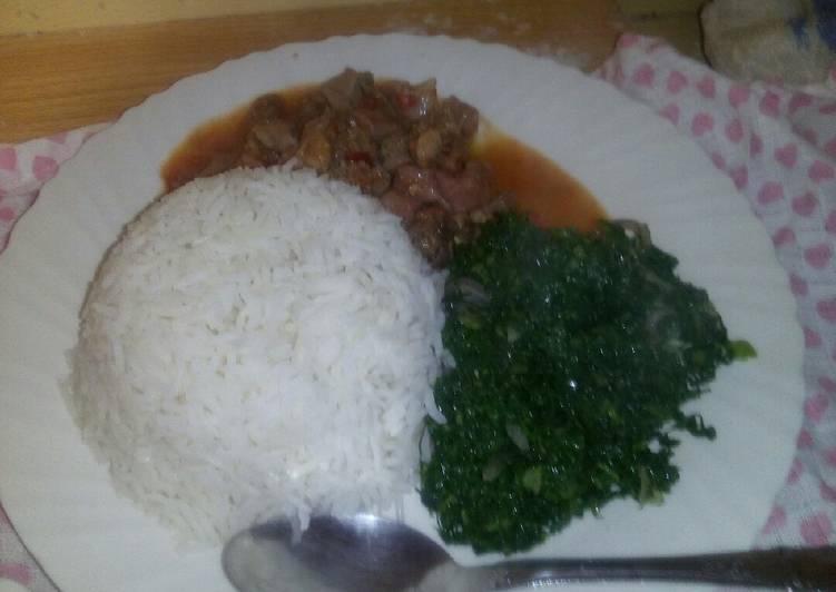 How to Make Super Quick Homemade Matumbo, Rice and kale