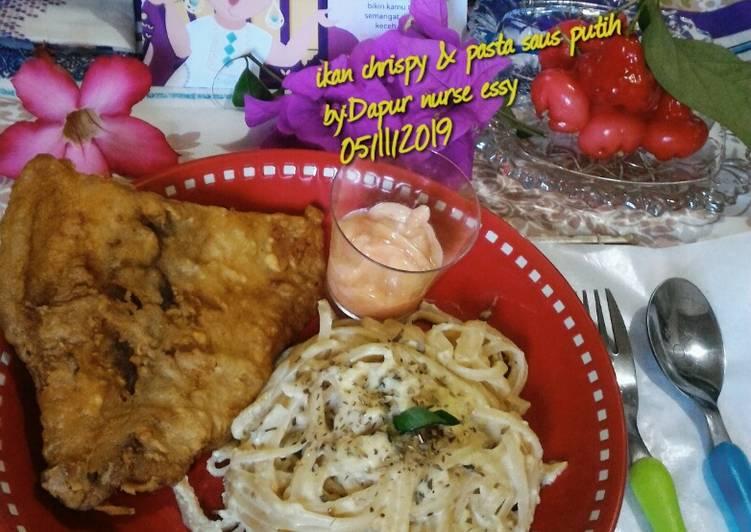 Ikan crispy & pasta saus putih ala ala fish street