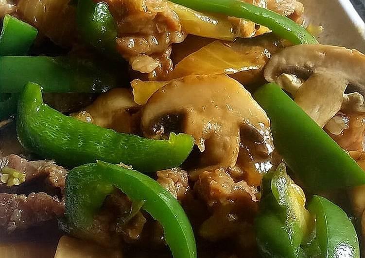 Tumis Daging Jamur Paprika
