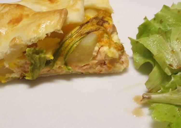 Salmon fillet, potato and pumpkin flower pie