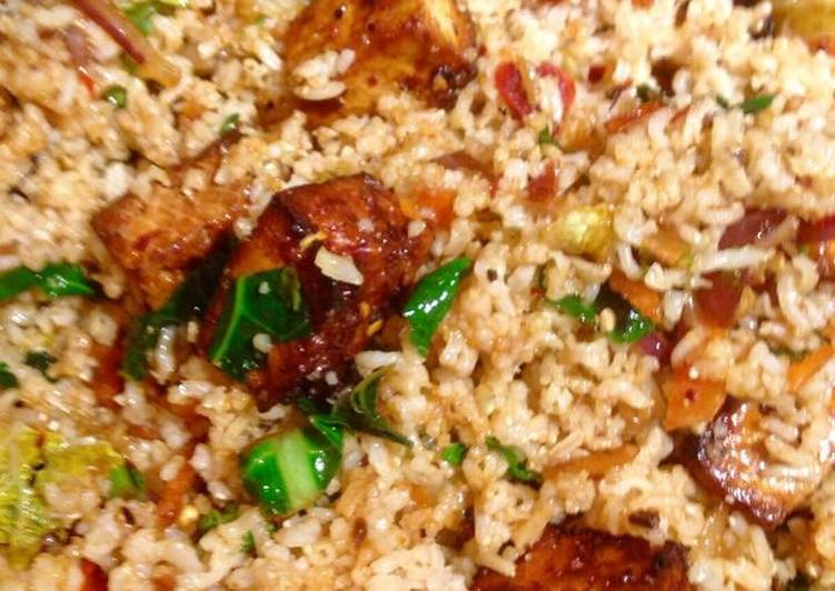 Fried vegetable brown basmati rice with marinated tofu