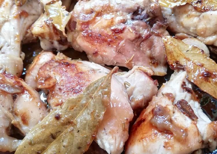 Pollo alla birra con cipolle di tropea