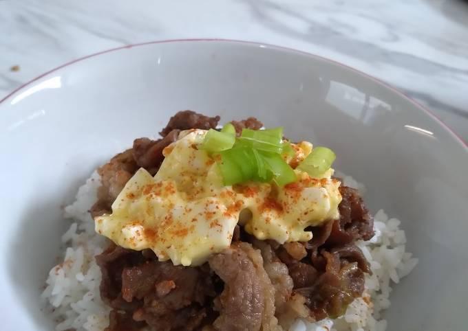 Yoshinoya + egg mayo ala rumahan