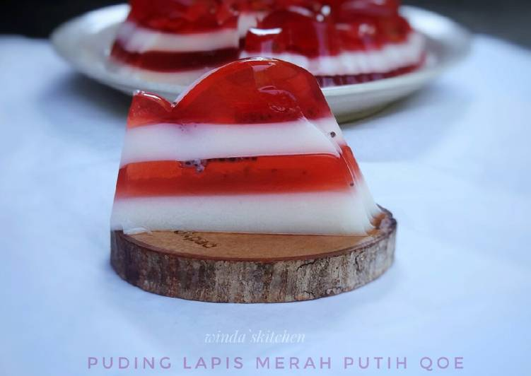 Puding lapis merah putih qoe