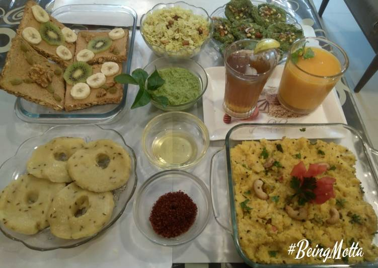 30 Minute Steps to Prepare Diet Perfect Khichu, makai upma, sprouts moong pancakes, chiwda, ruity toast