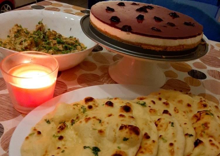 Tawa Naan with paneer handi and blueberry cheese cake