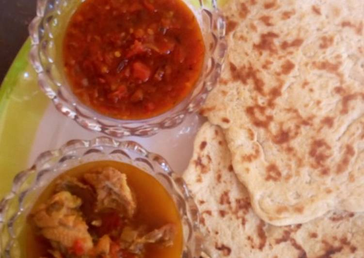 Recipe of Super Quick Homemade NAAN bread with souce and pepper soup