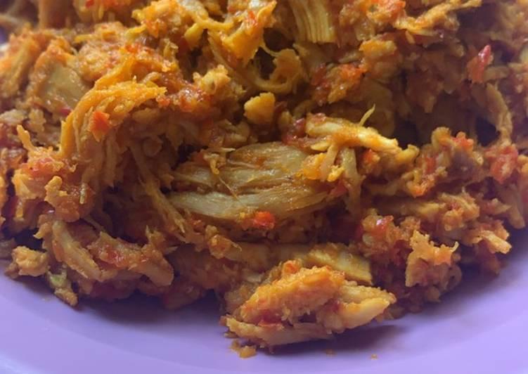 Ayam suir pedas (bumbu bali)