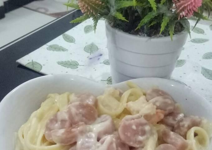 Langkah-Langkah Membuat Fettucini carbonara with sausage and shrimp yang…