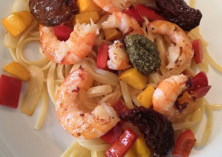 Linguine crevettes et légumes du soleil