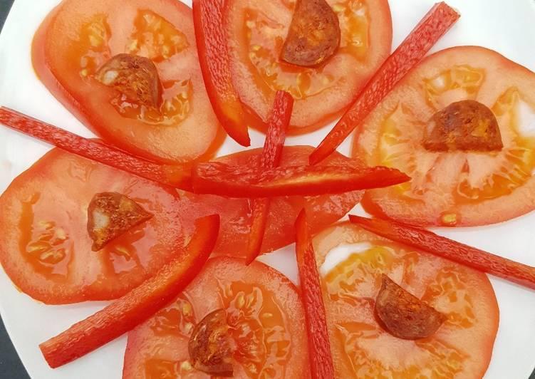Salade tomate poivron chorizo