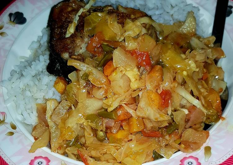 Catfish vegetable stir fry - Laurie G Edwards