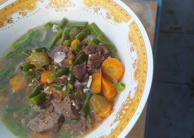 sayur asem daging kerbau - resepenakbgt.com