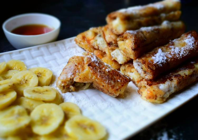 Peanut Butter French Toast Roll-Ups With Banana & Almond Filling