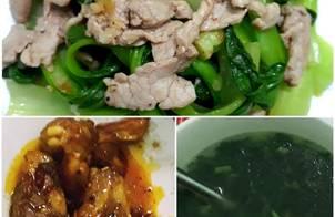 Sườn non chua ngọt + thịt heo xào cải thìa + canh tần ô