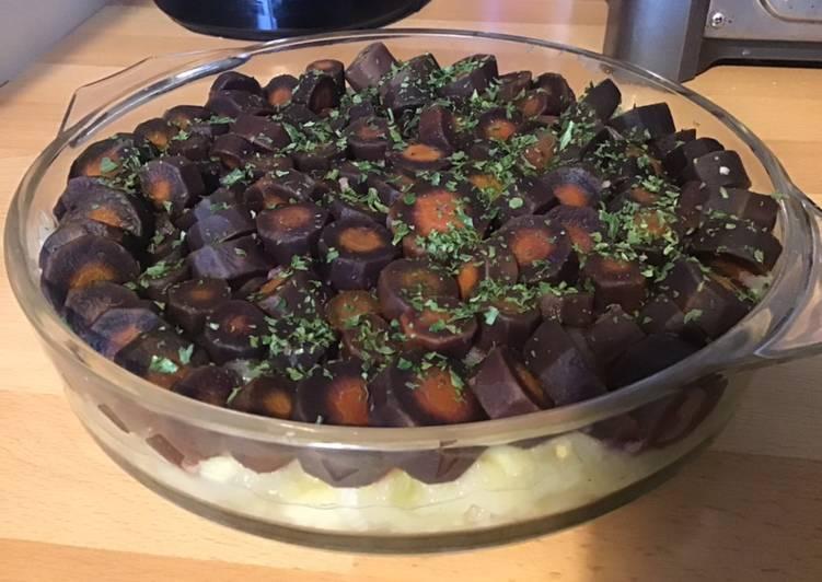 Le moyen le plus simple de Cuire Savoureux Carottes violettes fenouil et panais façon gâteau